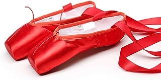 ZED- Ballet Pointe Schoenen Satijn Dans Schoenen met Genaaid Lint en Silicone/Sponge Teen Pads voor Meisjes Womens