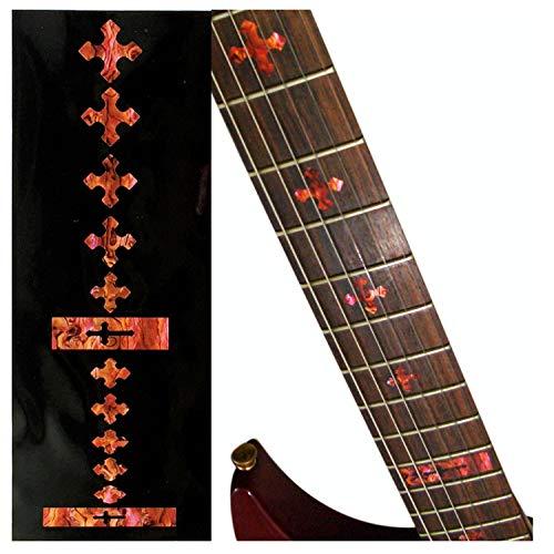 Adhesivo con incrustaciones para trastes para guitarras y bajos, color rojo