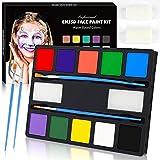 ENJSD Kinderschminke Set Gesichtsfarbe, 10-Farben Gesichtsfarbe Schminkset für Kinder, Body Painting, Ideal für Kinder Partys & Fasching, Auswahl an Schminkfarben Schablonen (10 Colours)