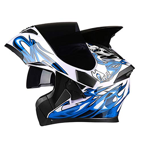 Casco de Motocicleta Multifunción Flip Helmet, antivaho y antiarañazos, Casco de Doble Visera para Carreras de montaña, Casco Multiusos con múltiples ventilaciones-Blue-M