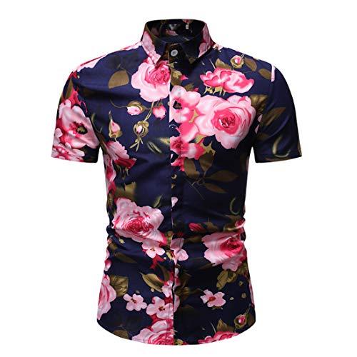 Camisa Hombre Slim Fit Estampado Botón Tapeta Camisas Ocio Verano Patrón Creativo Kent Collar Hombres Camisa Fiesta Urbana Vacaciones Hombres Manga Corta D-Red(A) XXL