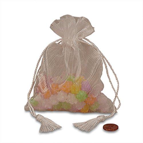 20ea - 3-1/2 X 5 White Brushed Sheer Organza Bags W/Tasls