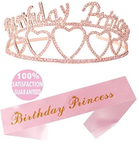 Schärpe und Diadem zum Geburtstag, Prinzessinnen-Motiv, für Partys, Geschenke, Dekorationen, 6.7., 8., 9., 10., 11., 12., 13., 16., 21., 30., 40., 50., 60., 70., 80., 90. Geburtstag, Rosa