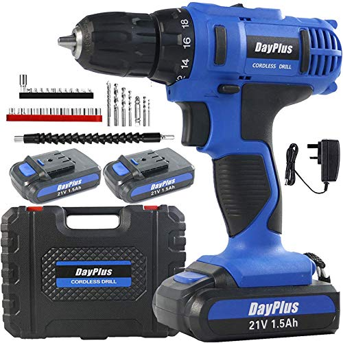 Blue Cordless Drill Combi Hammer, Drill Electric Screwdriver Sets w/ 2 Li-Ion Battery, LED Work Light, 18+1 Torque Chuck, 21V Impact Cordless Drills Driver & Screwdrivers Set, 29pcs Accessory Bits Set