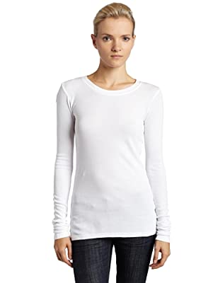 LAmade Women's Long Sleeve Thermal Tee, White, Large