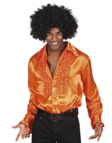 Luxuspiraten - Herren Rüschenhemd Glanzhemd Partyshirt Schlagermove 70er Siebziger Jahre Hemd mit starkem Kragen, 2XL, Orange