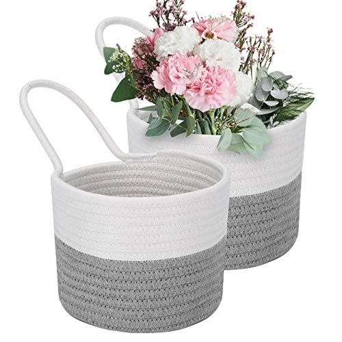 Cesta de pared tejida para colgar, paquete de 2 pequeñas cestas colgantes de cuerda de algodón con asa, 17 x 15 cm, cestas decorativas para plantas, flores, organización y almacenamiento