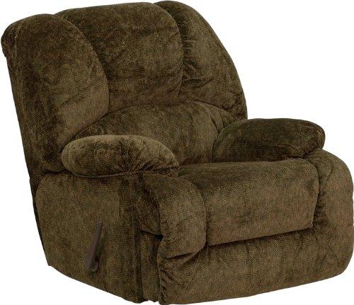 Big Sale Flash Furniture AM-9700-3975-GG Contemporary Zenith Basil Chenille Chaise Rocker Recliner, Green