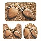 Alfombrilla de baño Pebble Impreso 3 piezas alfombras de baño Set de baño alfombra antideslizante Mat for los pies 3PCS Aseo Baño Alfombras tapa del inodoro cubierta Baño Tapetes-Pebble Estera de baño