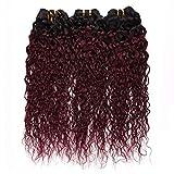 Brazilian Water Wave Ombre Human Hair Bundles 1b/99j Black to Burgundy Ombre Brazilian Hair Weave Bundles 3Pcs Unprocessed Brazilian Virgin Human Hair Extensions for Black Women(16 18 20)