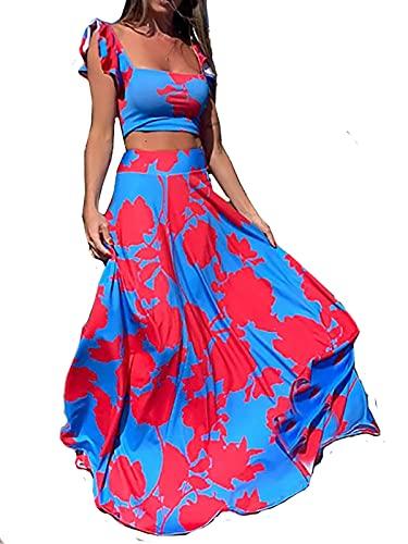 LKOUS Summer Vacation Skirts Sets for Womens, Floral Print Sundress, Beach 2 Piece Dress