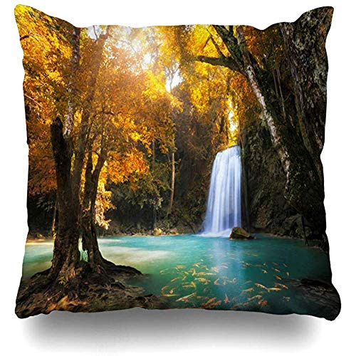 Asekngvo Throw Pillow Case Square Size 18'x18 Wild Green Creek Deep Forest Cascada Kanchanaburi Tailandia Heaven Nature Jungle Koi Fish Paradi
