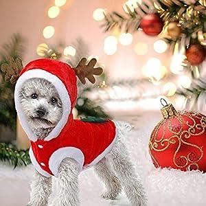 JIMACRO Dog Christmas Costume VêTements Chien Chat Christmas.Hiver NoëL VêTements Costume Cerf pour Chien de Grande Taille. Tenue pour Chat et Chiot. Cadeaux de fête