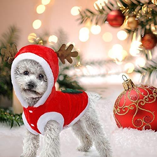JIMACRO Vestiti di Natale per Cane, Pet Suit Santa Simpatico Costume da Cane Renna Costume da Gatto Cappotto Invernale Caldo per Animali Domestici