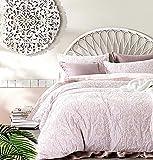 Tahari Home Soft Cotton Textured Jacquard Bedding Modern Cottage Duvet Cover Set Reversible Woven Damask Floral Birds Nature Design (Blush Pink, King)