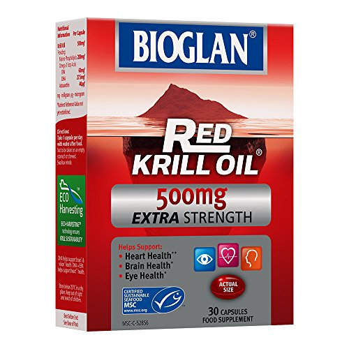 Bioglan Red Krill Oil Extra Strength 500mg, high in Omega-3 Fish Oil, EPA & DHA help to support for your Heart, Eye and Brain health, one month supply – 30 capsules