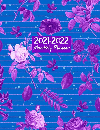 2021-2022 Monthly Planner: Large Two Year Planner Calendar Schedule Organizer 24 Months Agenda with Holidays with Blue Sky and Purple Floral Cover 8.5 x 11 (2021-2022 Planner, Band 2)