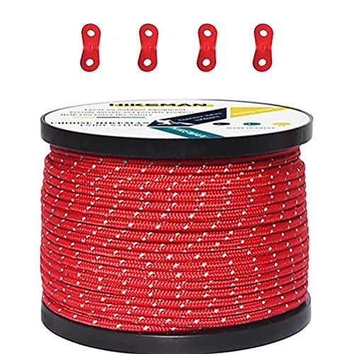Mify Cuerdas para hombre de 50 m, 4 mm de grosor y línea reflectante, cuerda para tienda de campaña con hebillas, ideal para camping, tiendas de campaña, senderismo, embalaje al aire libre