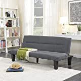 BELLEZE Futon Sofa Bed Furniture Sleeper Adjustable Lounger Convertible Comfort Low Seat Microfiber w/Wooden Legs, Gray