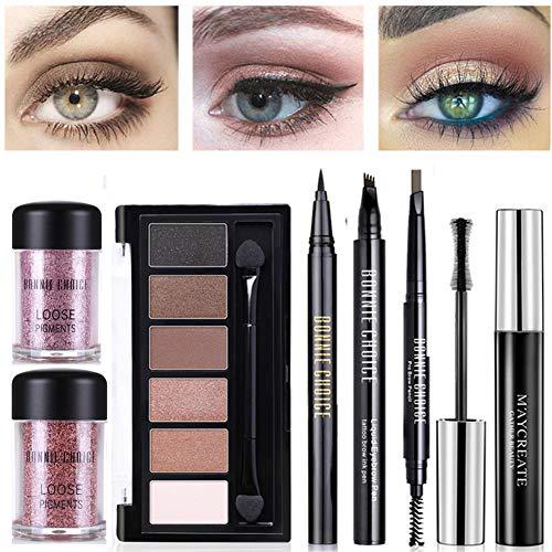 BONNIE CHOICE 7 PCS Eye Makeup Kits for Women, Eye Makeup Set for Beginners, Includes Eyebrow Pencil, Tattoo Eyebrow Pen, Eyeliner Pen, Mascara, Eyeshadow Palette, 2Pcs Loose Pigment Eyeshadow