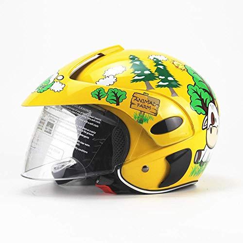 YGFS Casco de Bicicleta para niños Monopatín de Moda Bicicleta de Dibujos Animados Four Seasons Motocicleta Casco de Seguridad Dot (Flor Verde Amarilla)
