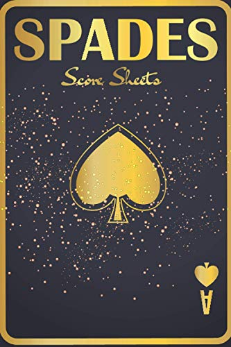 Spades Score Sheets: 120 Small Spades Score Pads, Card Game, Compact Size for Your (6 x 9 inches)...Black Gold Card Cover Design