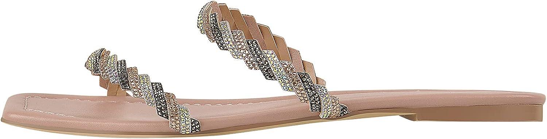 LISHAN Women's Rhinestone Strappy Slip On Flat Sandals