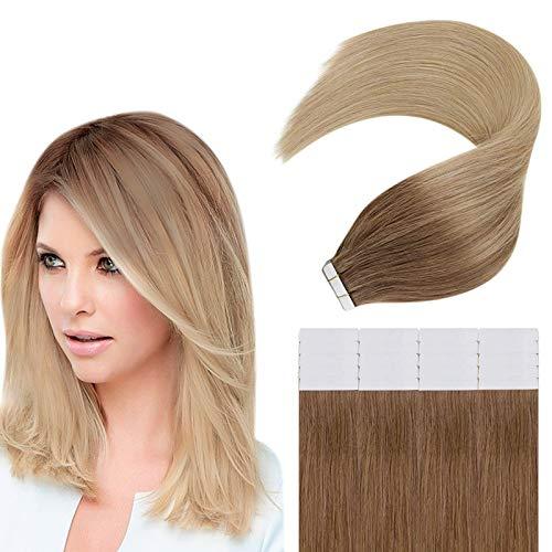 Easyouth Echthaar Tape on Extensions 18zoll 40g Farbe Goldbraun Verblasst zu Golden Blonde Tape in Verlängerung Glue in Hair Extensions Human Hair