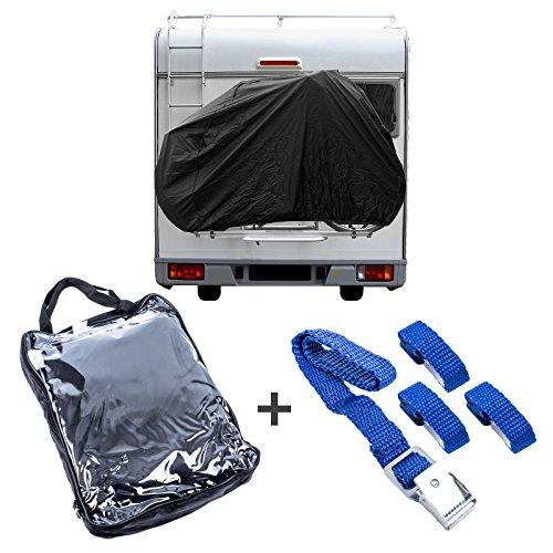 Housse de protection noire pour 2 vélos avec élastique et crochet avec sangles de fixation pour camping-cars et caravanes.