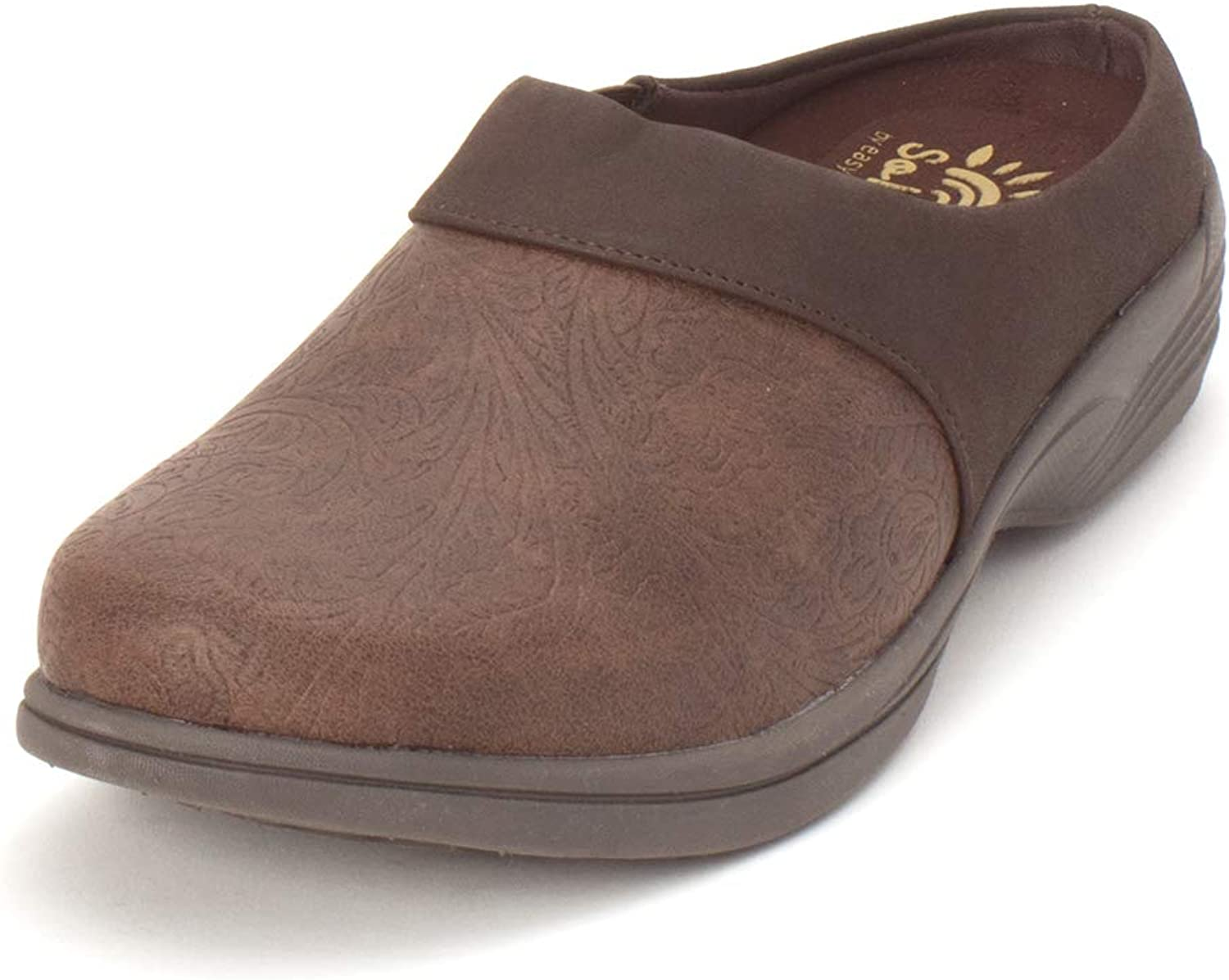 Easy Street Womens Cozy Closed Toe Clogs, Brown Floral, Size 7.5