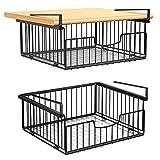 2 cestas colgantes de metal, organizador para debajo del armario, cesta de almacenamiento perfecta para la cocina, escritorio y despensa, color negro