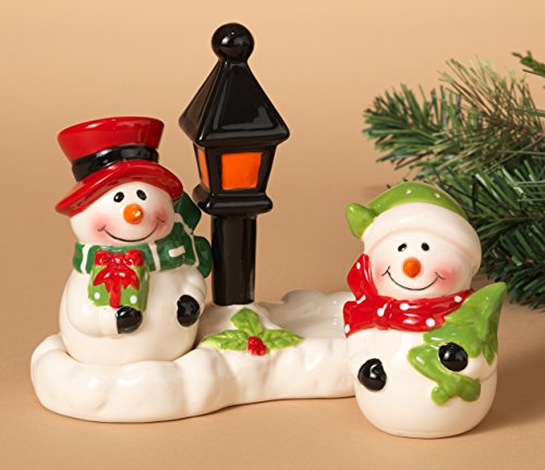 "Adorable Christmas Holiday Snowmen Salt and Pepper Shaker Set ~ 3 pc ~ Ceramic ~ 3"" Hand Painted"