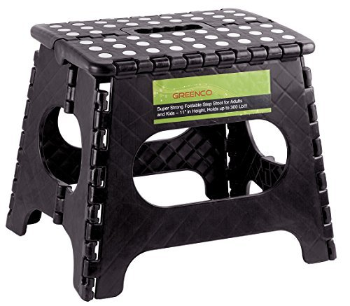Greenco Super Strong Foldable Step Stool for Adults and Kids, 11, Black by Greenco