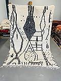 Alfombra marroquí Azilal Berber, 100 % tejida a mano, natural, tribal, forma de diamante, 297 x 191 cm
