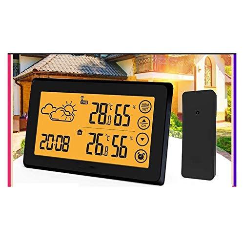 HCFSUK Estación meteorológica Digital inalámbrica, Termómetro Interior LCD de Contacto, Sensor Exterior Naranja Retroiluminado 12/24 h Reloj Despertador con repetición, Barómetro, Pronóstico del ti