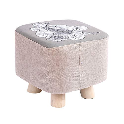 HYY-YY Taburete redondo de madera lavable taboret dormitorio maquillaje silla muebles hogar reposapiés comedor playa puf otomano