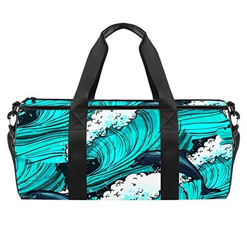 LAZEN Hombro Handy Sports Gym Bags Travel Duffle Totes Bag para hombres, mujeres, mar, turquesa, delfín