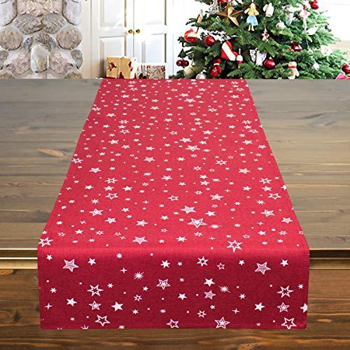 Tischläufer Snow rot, 40x140 cm, Moderne Tischdecke zu Weihnachten