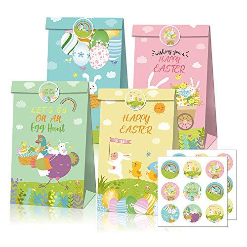Sacchetti Regalo di Pasqua 12 Pz , Sacchetti di Caramelle Pasquali con 2 Fogli di Adesivi, Sacchetti Regalo per Idee per Feste a Tema Pasquale Forniture per Decorazioni di Compleanno per Bambini