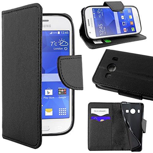 ebestStar - Cover Compatibile con Samsung Ace 4 Galaxy SM-G357FZ Custodia Portafoglio Pelle PU Protezione Libro Flip, Nero [Apparecchio: 121.4 x 62.9 x 10.8mm, 4.0'']