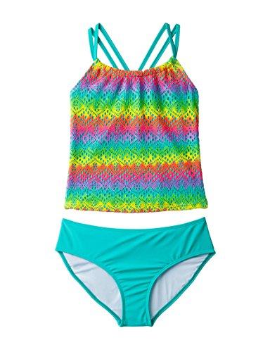Freestyle Revolution Big Girl's Chevron Ikat Tankini Swimsuit, Coral (14)