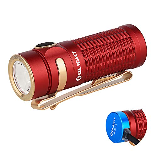 OLIGHT Baton 3 1200 Lumens Compact Rechargeable Flashlight CW LED High Performance EDC Flashlight Powered by IMR16340 Battery and Magnetic Charging Cable (Red)