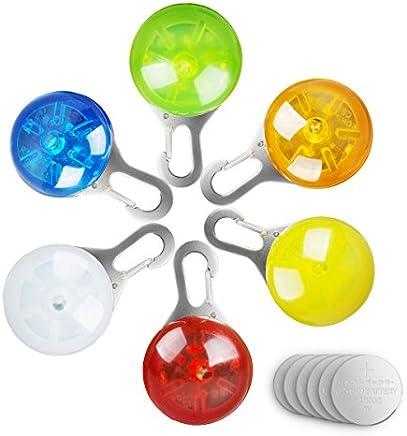 morpilot LED Cane Collare, 6pcs Clip-On Pet Luce, Luci Colorate Impermeabili Clip su Luci di Sicurezza a LED, Ideale per Passeggiatori del Bambino e Zaini per Bambini, Inclusi 6 Batterie di Ricambio