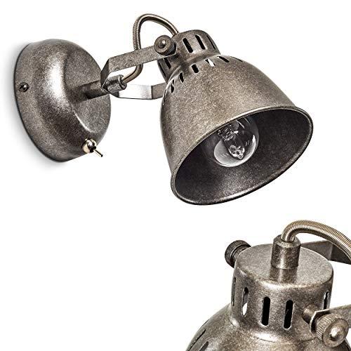 Stylische Wandleuchte Nanlia aus Metall in Silber-Grau – Wandlampe 1-flammig - Zimmerlampe mit...