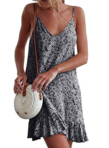 Summer Dresses For Women Clearance Vintage Boho Sleeveless Beach Printed Short Mini Dress For Anniversary,Party,Valentines Day A,XL
