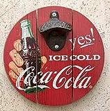 Apribottiglie rotondo da 20,3 cm – 20 cm – con apribottiglie in ferro retrò vintage da appendere alla parete – cartello in legno con apribottiglie – Ice Cold Yes! 20 cm – 189943