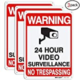 Video Surveillance Sign, MOLAER 3-Pack No Trespassing Signs, 10' x 7' UV Printed Waterproof Reflective 40 Aluminum Material, for Outdoor Security Camera Warning