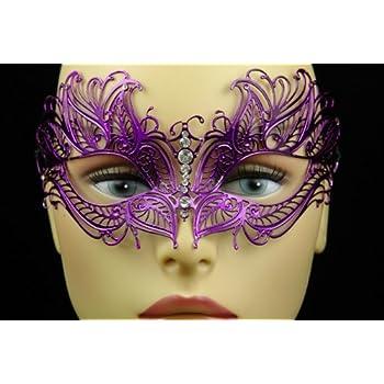 Black and Purple Plastic Masquerade Mask Laser Cut Design Rhinestones Costume