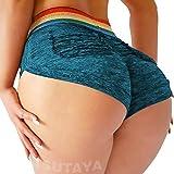 TSUTAYA Sports Shorts for Women Sexy Butt Lifting Gym Running Workout Yoga Spandex Shorts Hot Pants Casual Beach Shorts Blue, L
