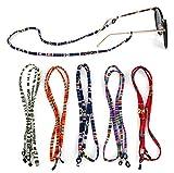 Crazy-M 5 Stück Brillenkette PU Leder Brille Seil Brille Kordel Halte Multicolor geflochtenes Seil...